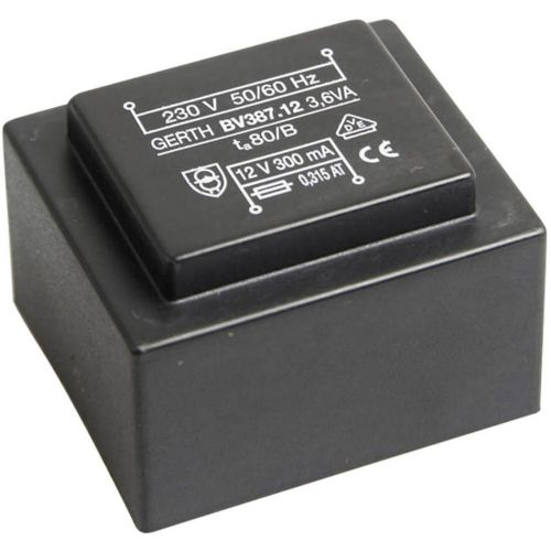 EI 38/13,6 Transformator za tiskana vezja, primarni: 230 V sekundarni: 2 x 6 V 300 mA 3.6 VA Gerth