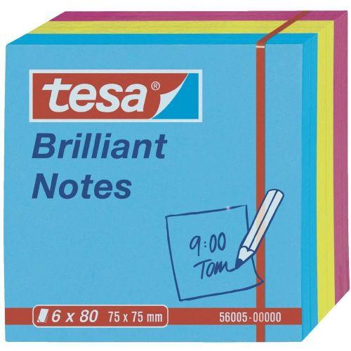 Lepilni lističi Tesa BrilliantNotes, 56005, (D x Ĺ ) 75 mm x75 mm, modri, rumeni, roza 56005-00-00