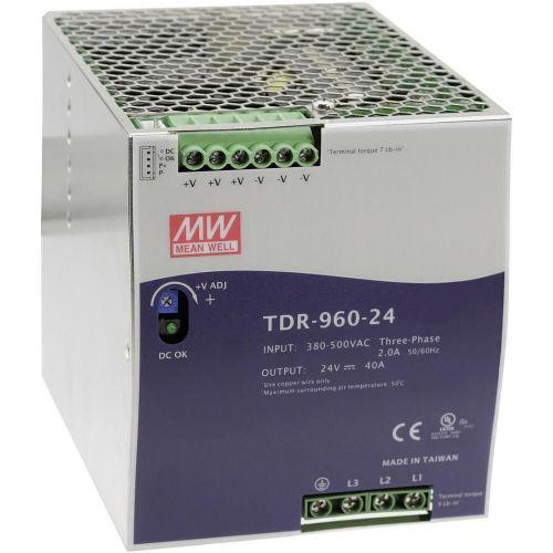 Napajalnik za namestitev na vodila (DIN-letev) Mean Well TDR-960-24 24 V/DC 40 A 960 W 1 x