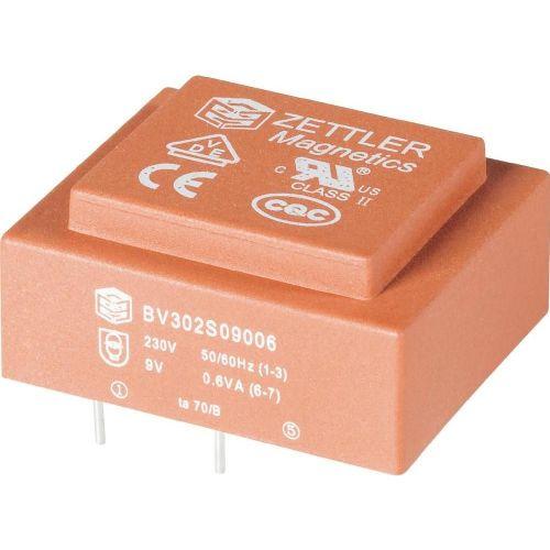 Transformator za tiskana vezja, primarni: 230 V sekundarni: 2 x 15 V 2 x 16.7 mA 0.5 VA BV202D15005 Zettler Magnetics