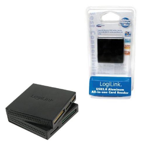 Čitalec kartic USB 2.0 Zunanji LogiLink all-in-one ALU ohišje, črn (CR0017)