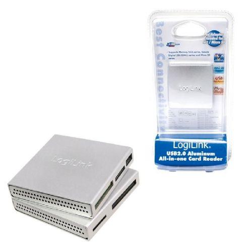 Čitalec kartic USB 2.0 Zunanji LogiLink all-in-one ALU ohišje, srebrn (CR0018)