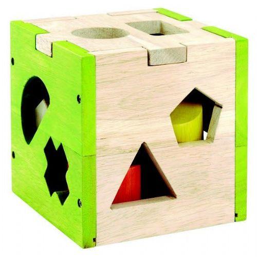 Lesena igrača - kocka za vstavljanje likov (art. 32582)