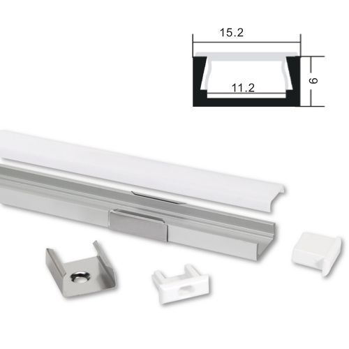 ALU LED profil Typ-1 (15061) 1m set z mlečno belim pokrovom