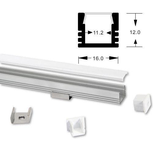 ALU LED profil Typ-3 (16121) 2m set z mlečno belim pokrovom
