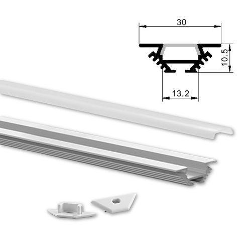 ALU LED profil Typ-8 (30101) 2m set z mlečno belim pokrovom