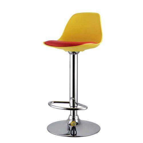 Barski stol EA 14 rumen/rdeče sedišče