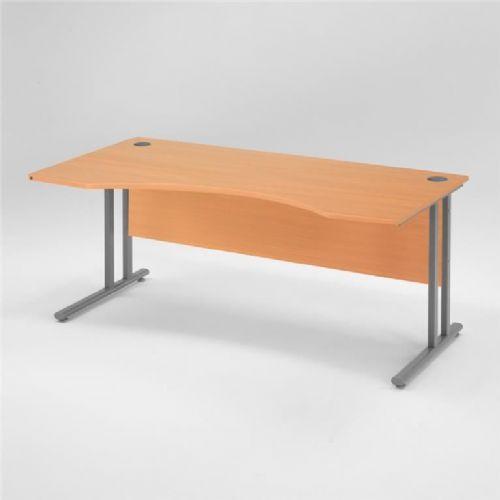 Flexus pisarniška miza, spredaj zaobljena: 1600X800mm: bukov laminat