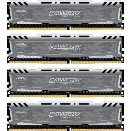 CRUCIAL 64GB Kit (16GBx4) DDR4 2400 CL16 1.2V DIMM Ballistix Sport LT - BLS4C16G4D240FSB