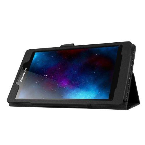 """Eleganten etui """"Litchi"""" za Lenovo Tab 2 A7-20 iz umetnega usnja - črn"""