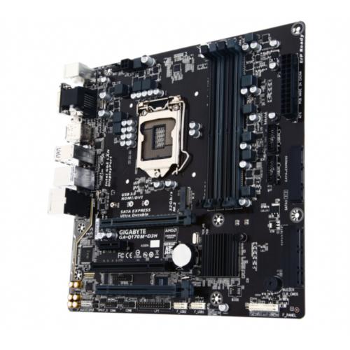 GIGABYTE GA-Q170M-D3H, Intel vPro, DDR4, SATA3, USB3, DP, LGA1151 mATX - GA-Q170M-D3H