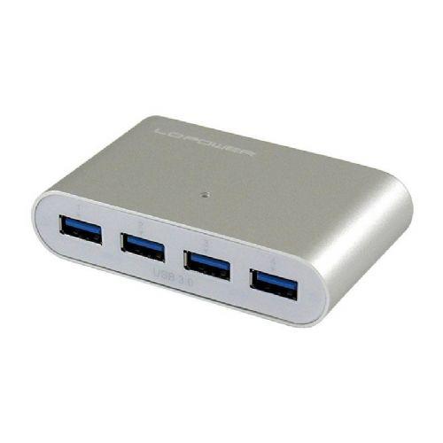 LC-POWER LC-HUB-ALU-1B 4-portni USB 3.0 srebrn zunanji z napajanjem hub