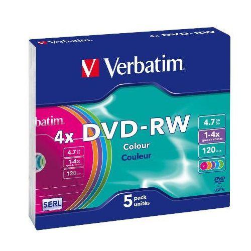 MEDIJ DVD-RW VERBATIM 5PK ozke barvne škatlice (43563)