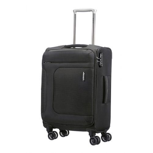 Mehek kabinski kovček Samsonite Asphere na štirih kolesih 55 raztegljiv črn