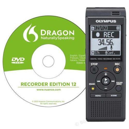 Diktafon OLYMPUS VN-741PC črne barve z DNS programom za prepoznavanje govora (V415112BE000)