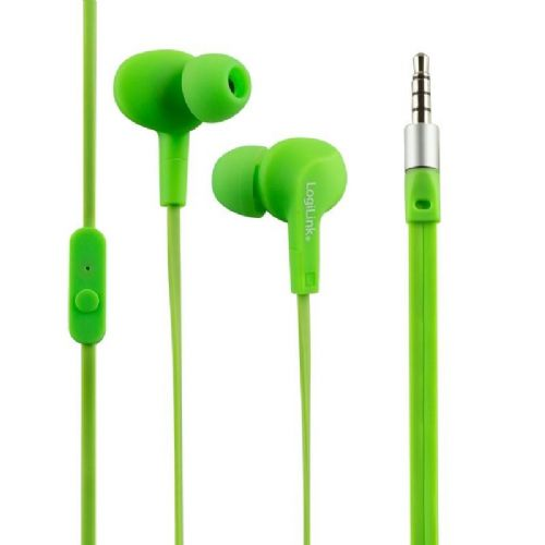 Slušalke LogiLink ušesne vodoodporne IPX6 neonsko zelene (HS0044)