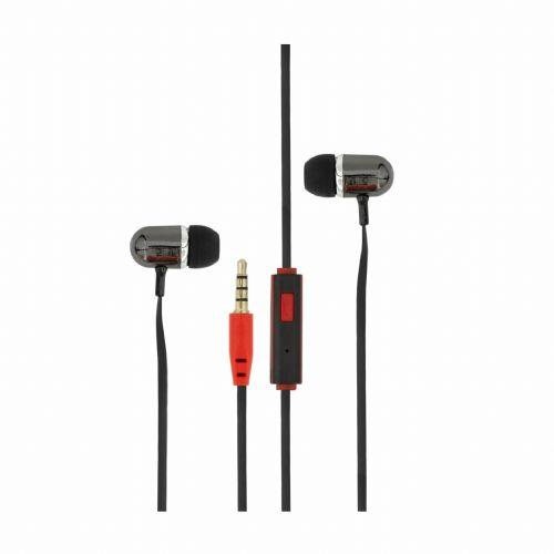 Slušalke ušesne stereo z mikrofonom EP-044B črne SBOX