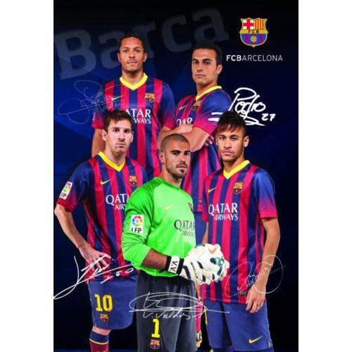 Zvezek z mehkimi platnicami A4 mali karo, FC Barcelona