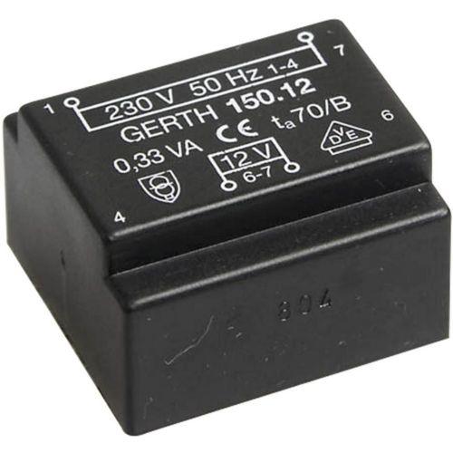 EE 20/6,1 Transformator za tiskana vezja, primarni: 230 V sekundarni: 2 x 12 V 14 mA 0.35 VA Gerth
