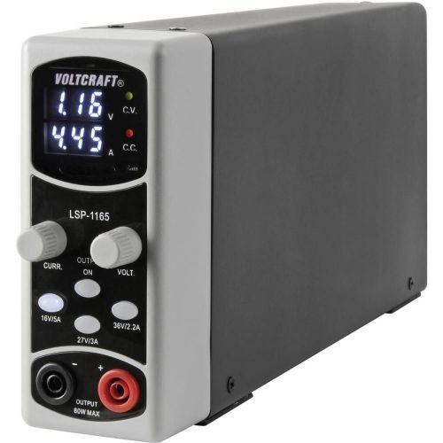 Laboratorijski napajalnik Voltcraft LSP-1165, nastavljiv, 0,1–36 V/DC, 0,01–5 A, 80 W, tanka oblika, št. izhodov: 1