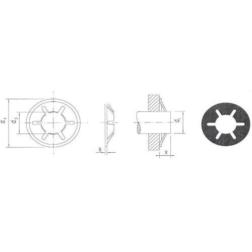 Vpenjalne podložke za gredi s premerom 3 mm KS3