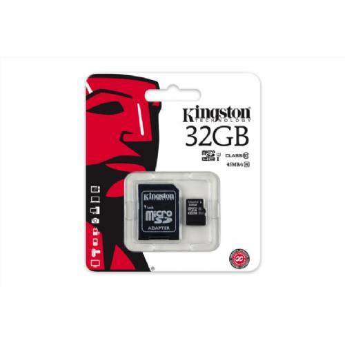 Spominska kartica Kingston 32GB Micro SDHC class10 45MB/s + SD adapter