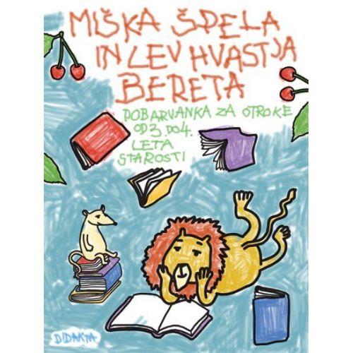 Miška Špela in Lev Hvastja bereta (pobarvanka)