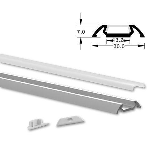 ALU LED profil Typ-7 (30061) 2m set z mlečno belim pokrovom