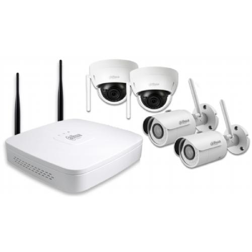 DAHUA IP Wi-Fi video nadzorni komplet (NVR4104-W/ 2-HFW1120S-W/ 2-HDBW1120E-W) - 2-HFW1120S-W/2-HDBW1120E-W
