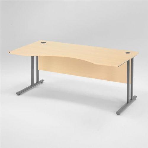 Flexus pisarniška miza, spredaj zaobljena: 1600X800mm: brezov laminat