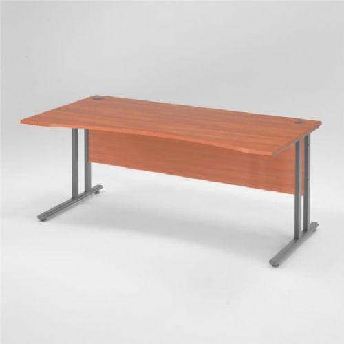 Flexus pisarniška miza, spredaj zaobljena: 1600X800mm: kalvados laminat