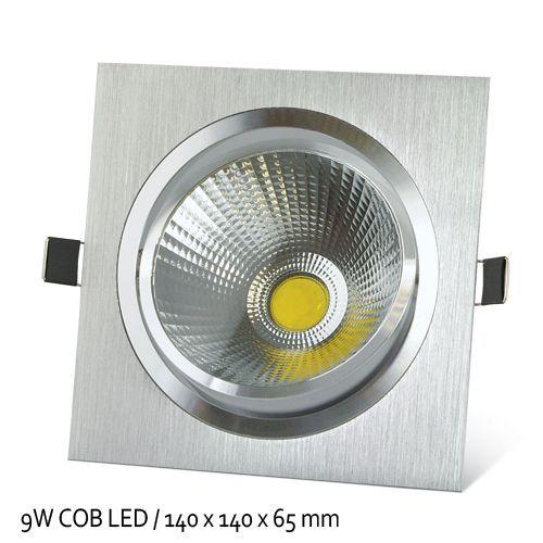 LED Vgradna COB svetilka 9W topla bela - kvadratna