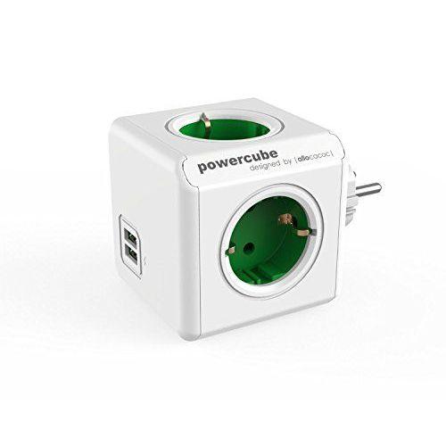 Električni razdelilec Allocacoc PowerCube USB zelen
