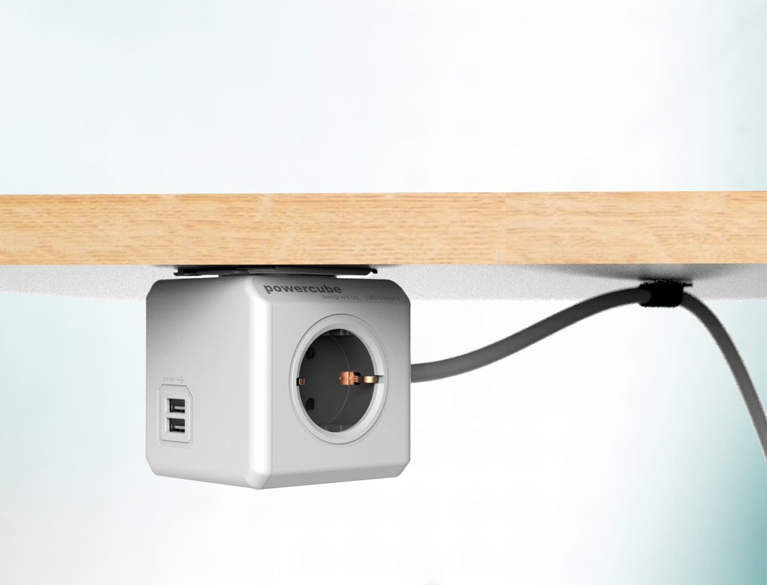 Električni razdelilec Allocacoc PowerCube 1,5m USB, siv