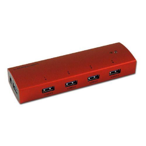 LC-POWER LC-HUB-EX4R-ALU 4-portni USB 3.0 rdeč zunanji z napajanjem hub