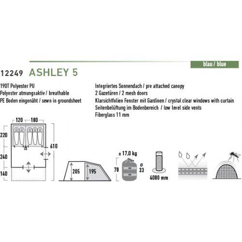Družinski tunel šotor z integriranim dnom HIGH PEAK ASHLEY 5 4