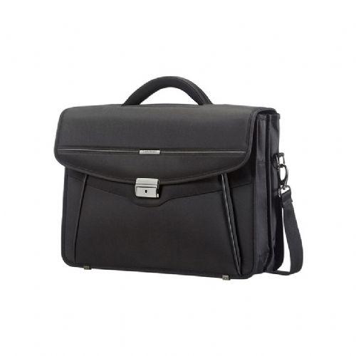 Poslovna torba z dvema predaloma Samsonite Desklite, črna