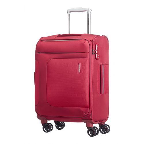 Mehek kabinski kovček Samsonite Asphere na štirih kolesih 55 raztegljiv rdeč